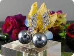2x12mm Black Fresh Water Pearl 18x2mm Topaz Earrings