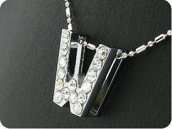 15x3mm Character **W** White Topaz Pendant