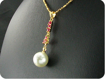 White Pearl 18x3mm Red Ruby Pendant Earrings Set