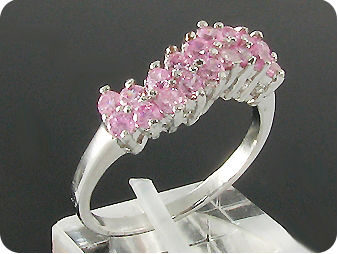 18 x 2mm Pink Sapphires Round Cut Gold Ring