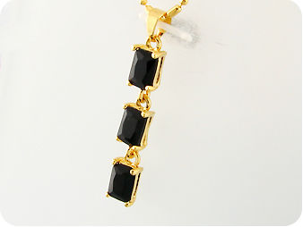 3 x 7mm Black Sapphires Emerald Cut Pendant