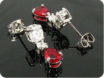 2x7mm Red Rubies Earrings