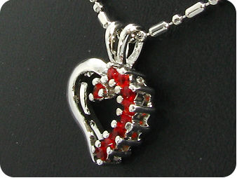 9x2mm Red Rubies Heart Shape Pendant
