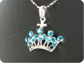 14 x 2~4mm Blue Sapphires Crown Style Pendant