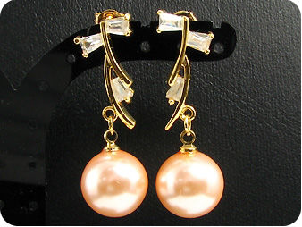 12mm Creamy Huge Pearl Topaz Gold Pendant Earrings Set