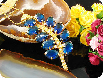 10 x 12mm Blue Sapphires Gold Topaz Leaf Pendant