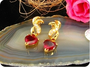 2x8mm Red Rubies Heart Cut Earrings