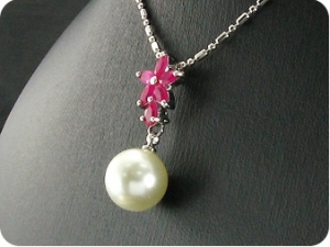 12mm Pearl 18x5mm Red Ruby Pendant Earrings Set
