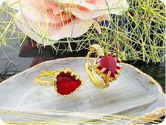2x9mm Red Rubies Earrings