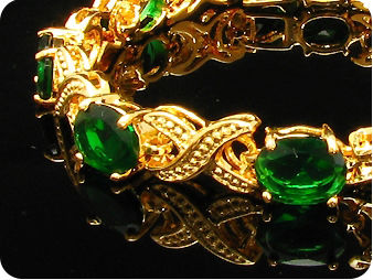 9 x 9mm Green Emeralds Oval Cut Gold Bracelet