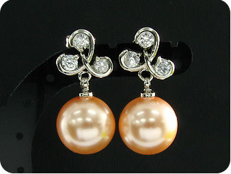 12mm Pearl 9x4mm Topaz Pendant Earrings Set