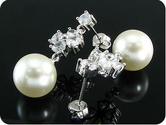2x12mm White Fresh Water Pearl 10x4mm Topaz Earrings