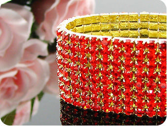 320x3mm Red Rubies Canival Party Gold Bracelet
