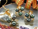 9x6mm Black Pearl Topaz Gold Pendant Earrings Set