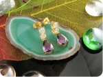 10mm Purple Amethyst Rain Drop Gold Earrings