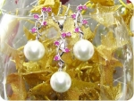 12mm White Pearl 15x2mm Red Ruby Pendant Earrings Set