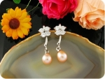 2x7mm Creamy Fresh Water Pearl Oval Earrings