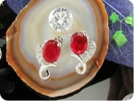 2x8mm Red Rubies Earrings