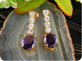 2x10mm Purple Amethysts Earrings