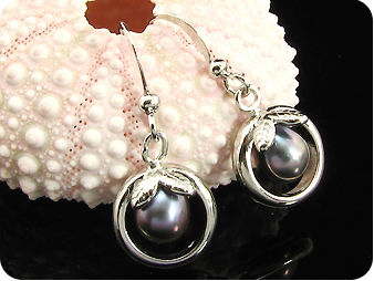 Groovy 2x8mm Black Fresh Water Pearl Oval Cut Earrings