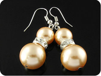 4x10~14mm Creamy Color Pearl Dangle Hoop Style Earrings