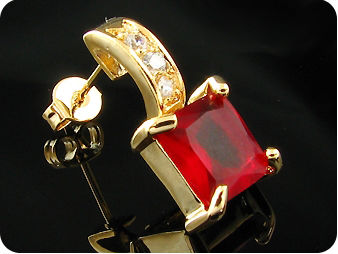 2 x 8mm Red Rubies Princess Cut Gold Earrings