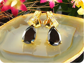 12mm Black Sapphire Earrings