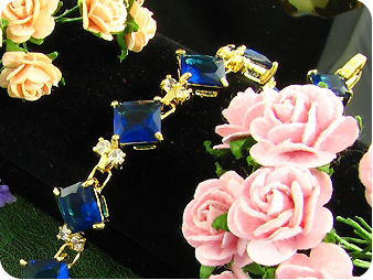 11x10mm Royal Blue Sapphire White Topaz Gold Bracelet