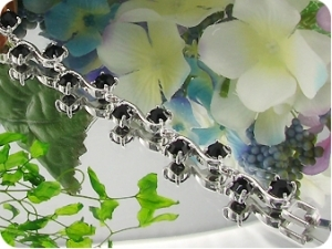 20x5mm Black Sapphire White Gold Plated Style Bracelet