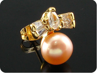2x9mm Creamy Fresh Water Pearl Topaz Gold Earrings