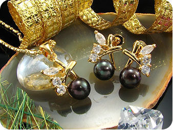 3x9mm Black Pearl Topaz Gold Pendant Earrings Set