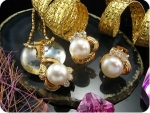 3x8mm White Pearl Topaz Gold Pendant Earrings Set