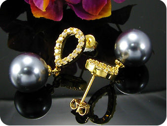 2x12mm Black Fresh Water Pearl Topaz Gold Earrings