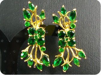 42 x 4~13mm Green Emeralds Gold Pendant Earrings Set