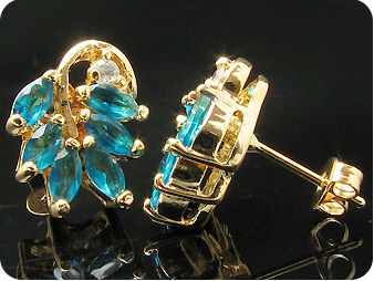 Elegant 12 x 5mm Blue Sapphires Gold Earrings