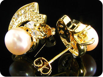 2x8mm Creamy Fresh Water Pearl Topaz Gold Earrings