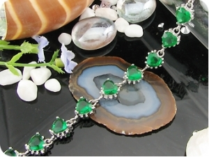 15x6mm Green Emerald  Bracelet