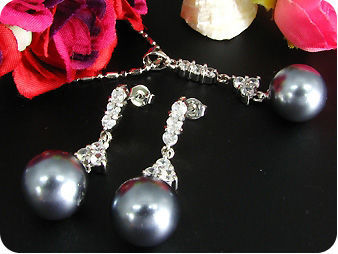 12mm Black Huge Pearl 18x3mm Topaz Pendant Earrings Set