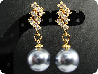12mm Black Huge Pearl Topaz Gold Pendant Earrings Set