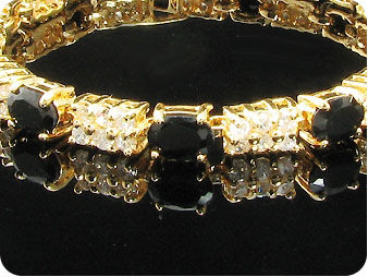 Fabulous 10 x 7mm Black Sapphires Gold Bracelet
