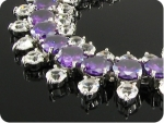 87x3~4mm Purple Amethyst White Topaz Round Bracelet