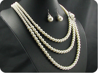 264x14~6mm White Pure Pearl 3~row Necklace Earrings Set