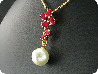 White Pearl 18x6mm Red Ruby Gold Pendant Earrings Set