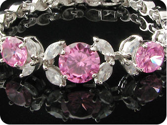 Exotic 5 x 6~10mm Pink Sapphires Round Bracelet