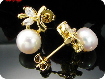 2x8mm White Fresh Water Pearl Topaz Gold Earrings