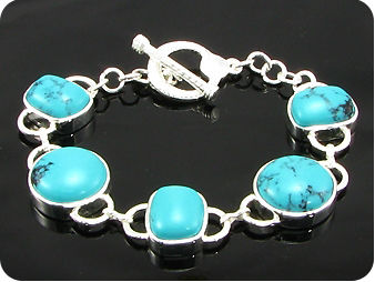 5x17~15mm Chinese Turquoise Silver Tennis Bracelet