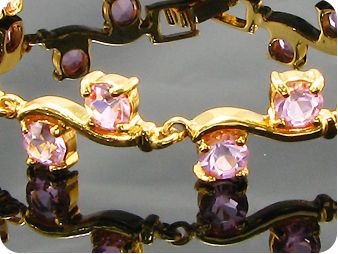 20x5mm Pink Sapphire Round Cut Gold Style Bracelet