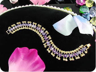 38x6mm Purple Colour Amethyst Marquise Gold Bracelet
