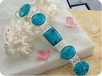 5x25mm Stones Chinese Turquoise Silver Tennis Bracelet