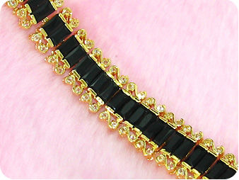 38x8mm Black Sapphire Topaz Emerald Cut Gold Bracelet